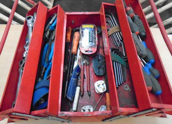 Red tool box of contents
