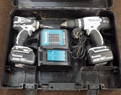 Makita 18volt drill & impact driver, 2 lithium batteries & charger in box w/o