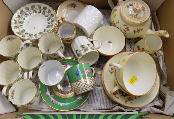 Box of ceramics inc Spode coffee set & Royal Worcester
