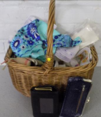 Basket of vintage fabric/purses/scarves