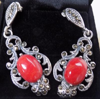 Pair of silver coral & marcasite ear rings