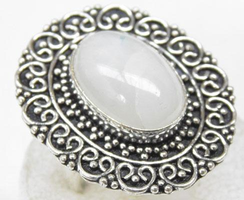 Silver Moonstone dress ring