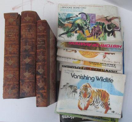 3x Leather bound books & various Brooke Bond collection cards