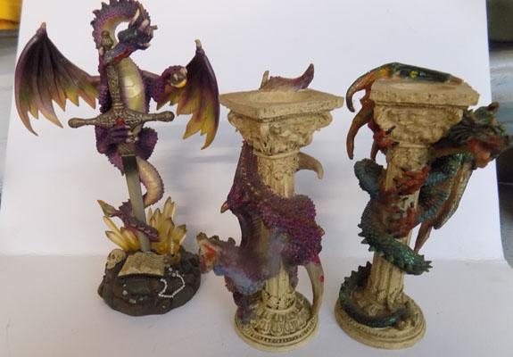 Pair of dragon candlesticks & dragon ornaments