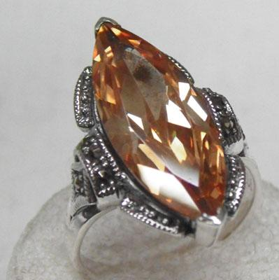 Silver Citrine & Marcasite ring