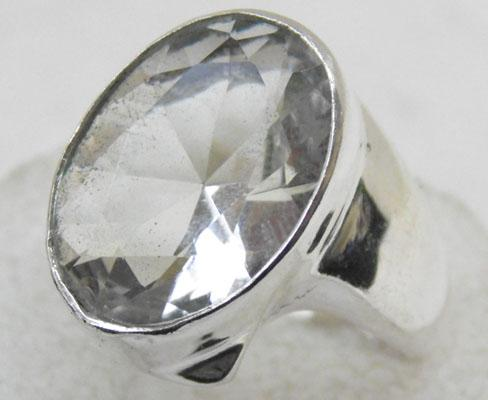 Silver white Topaz ring size T