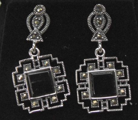 Pair or Art Deco style silver jet & marcasite ear rings