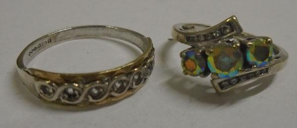 2x 9ct Gold on silver rings