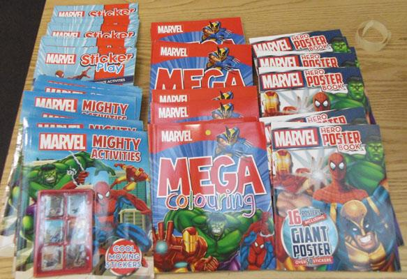 Box of Marvel sticker/colouring books