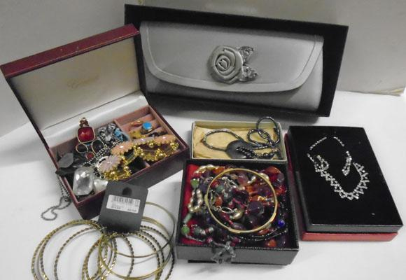 Clutch bag & boxes of jewellery