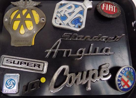 Collection of vintage car badges-RAC-AA etc