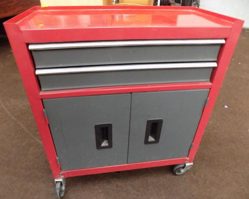 2x Drawer & cupboard tool cabinet on wheels