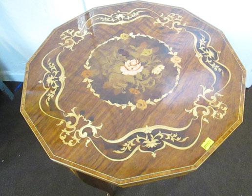 Musical inlaid sewing table