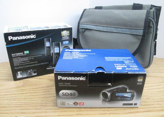 Panasonic comera in box, with case & home telephone