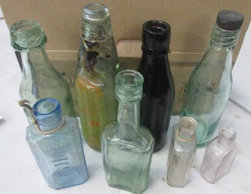 Box of old glass bottles