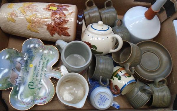 Box of mixed pottery inc Spode, Crown Ducal etc