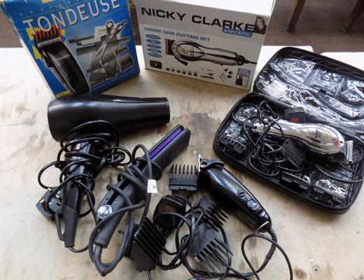 Selection of hair products, clippers, dryers etc