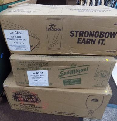 3x Boxes of pint & half pint glasses