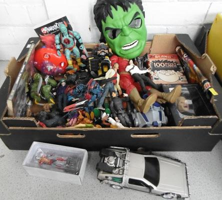 Box of action figures inc tv/movie