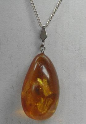 Solid silver chain & Amber pendant