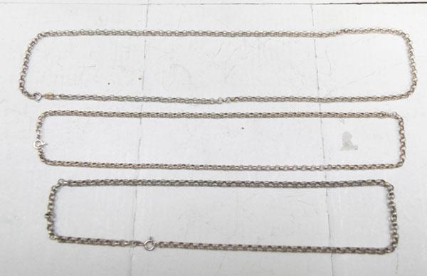 3x Sterling silver belcher chains