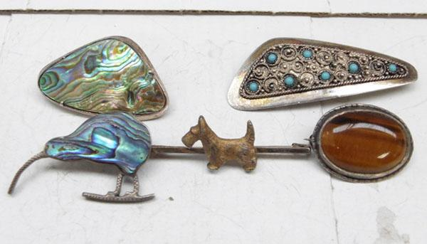 5x Sterling silver brooches