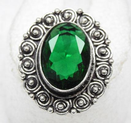 925 Silver chrome Diopside ring size O