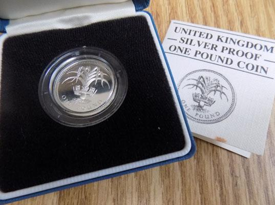 Silver Royal mint one pound proof coin