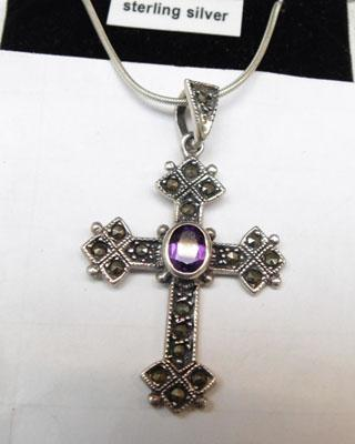 Sterling silver Amethyst and Marquisite cross necklace