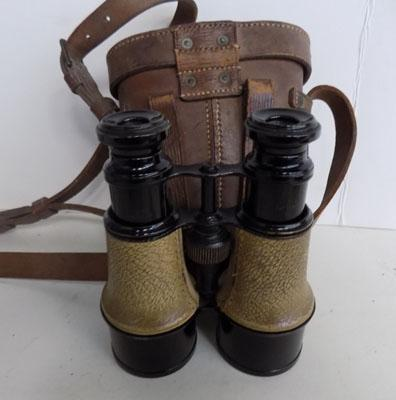Pair of service binoculars in leather case