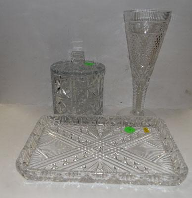 Victorian crystal vase & 2 other crystal items