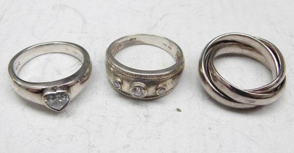 3x 925 Silver rings