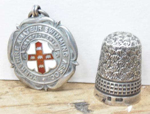 C Horner thimble & Fattorini silver medal