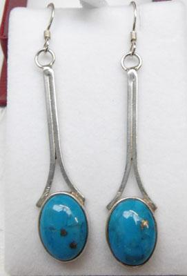 Pair of large sterling silver Turquoise earrings