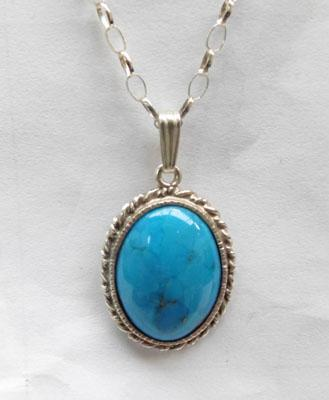 Sterling silver and Turquoise pendant on silver chain