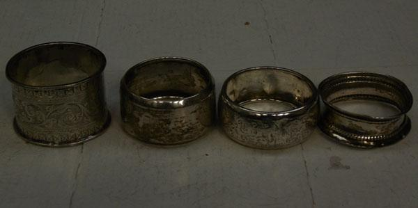 4x Sterling silver napkin rings