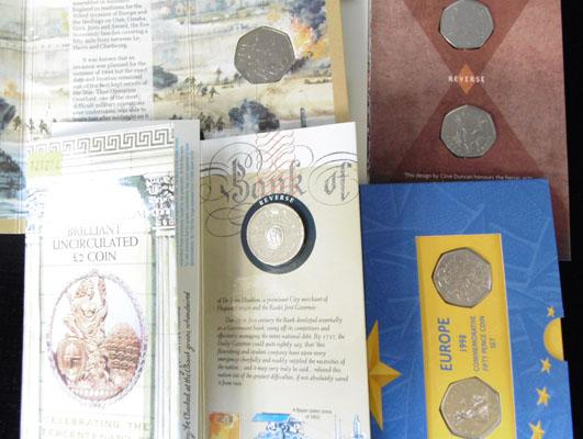 4x Commemorative coins & packs