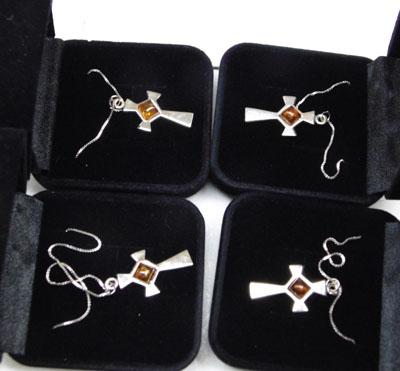 4x Sterling 925 silver Amber necklaces