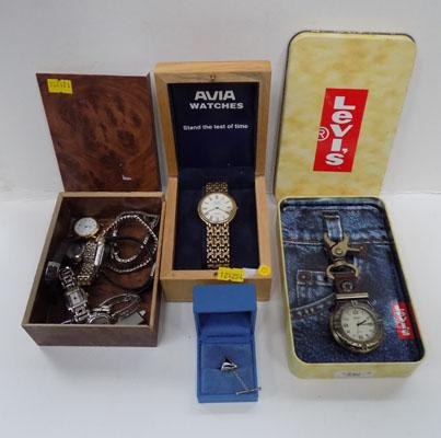 Selection of watches and sterling silver tie pin