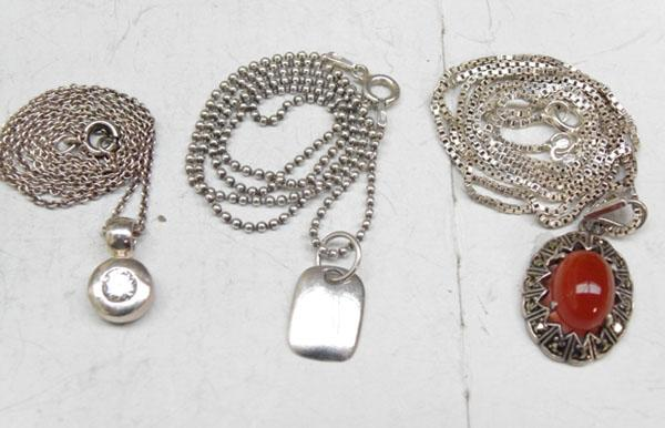 3x Sterling silver necklaces