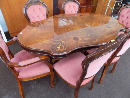 Italian inlaid table and six upholstered chairs