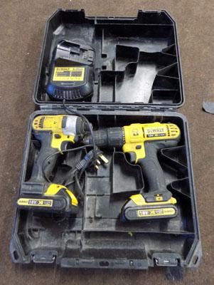 Dewalt twinpack 18 volt drill & impact driver with 2 lithium batteries and charger (w/o)