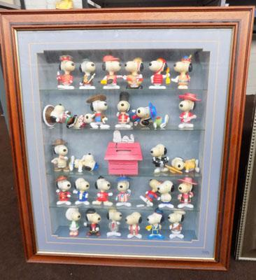 Large display case of Snoopy figures
