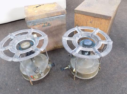 2 brass camping stoves in Sweden with original boxes