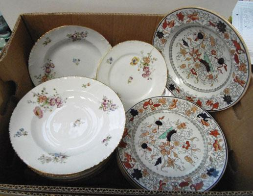 Box of Masons & Limoges dinner ware