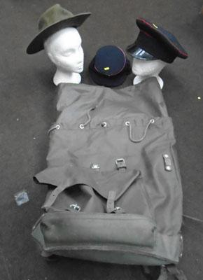 3Military hats and bag