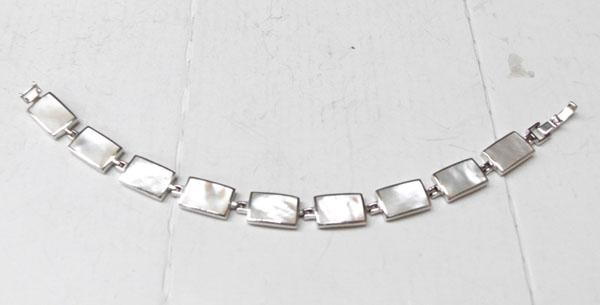 Art Deco style silver & mother of pearl bracelet