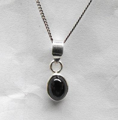 Sterling silver Black stone diopside pendant on silver chain