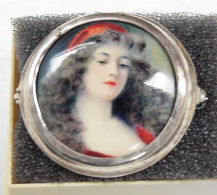 925 Silver brooch hand painted miniature