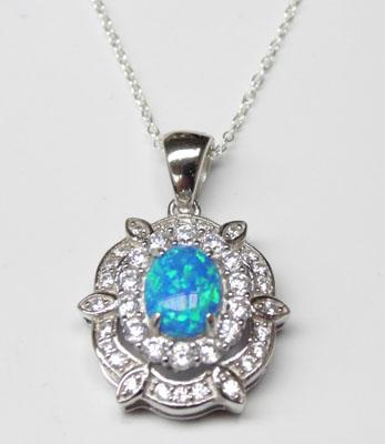 Silver blue Opal & CZ pendant on silver chain